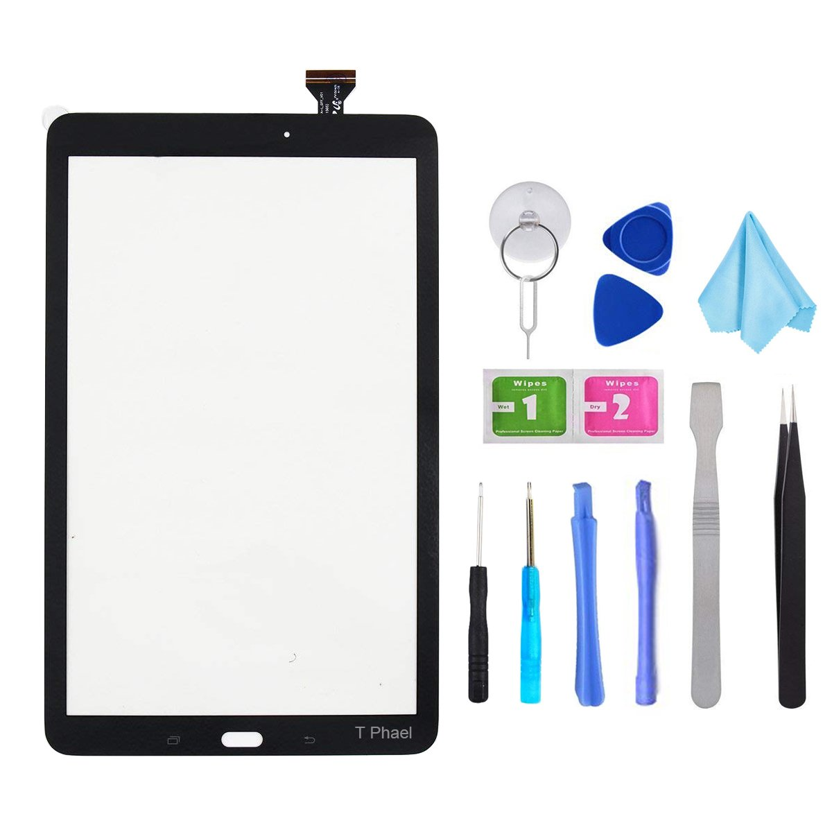 Black Touch Screen Digitizer for Samsung Galaxy Tab E 9.6'' - Glass Replacement for SM-T560 SM-T561 T560 T561(Not Include LCD) with Tools + Pre-Installed Adhesive