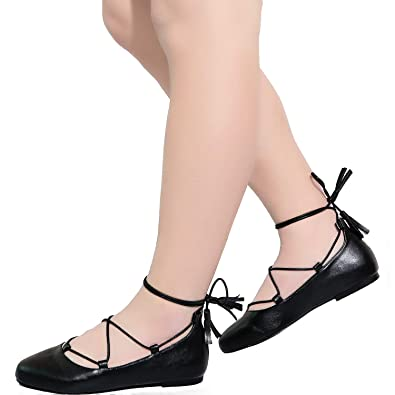 718945e89c7 Aukusor Women s Wide Width Flat Shoes - Elastic Lace UP Slip On Pointed Toe  Ballet Flats