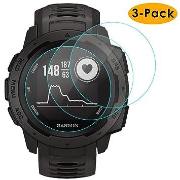 KIMILAR Compatible Garmin Instinct Protector Pantalla, [3 Paquetes] Protector de Pantalla Templado Vidrio para Garmin Instinct Smart Watch: Amazon.es: ...