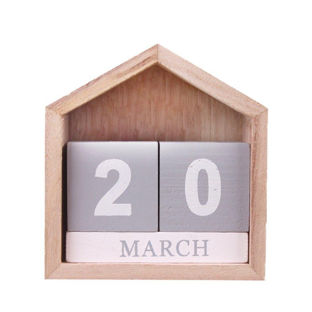 hangnuo madera Calendario Perpetuo bloques para escritorio Home Office Decor–Creative casa DIY calendario