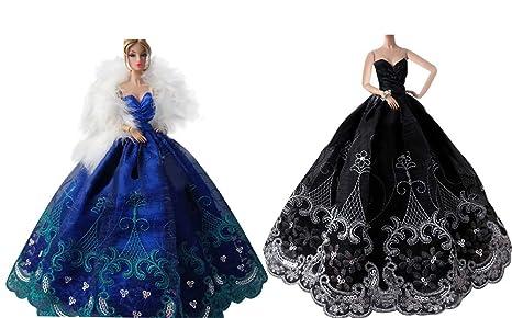 separation shoes d4fa8 32d80 OurKosmos® Splendida partito Handmade abito Vestiti & abiti da sposa  accessori bambola Doll-2PCS (Blu / Nero)