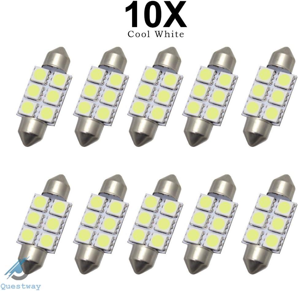 10x 42MM Navette 5050 4 SMD LED Ampoule Voiture Lampe Canbus ANTI SANS ERREUR ODB Feston Blanc R SODIAL