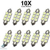10 x LED 6 SMD 5050 Lampe C5W 36mm DC12V Blanche Brillant Plaque Navette Ampoule Plafonnier Veilleuse Voiture Ampoule Intérieur XENONE