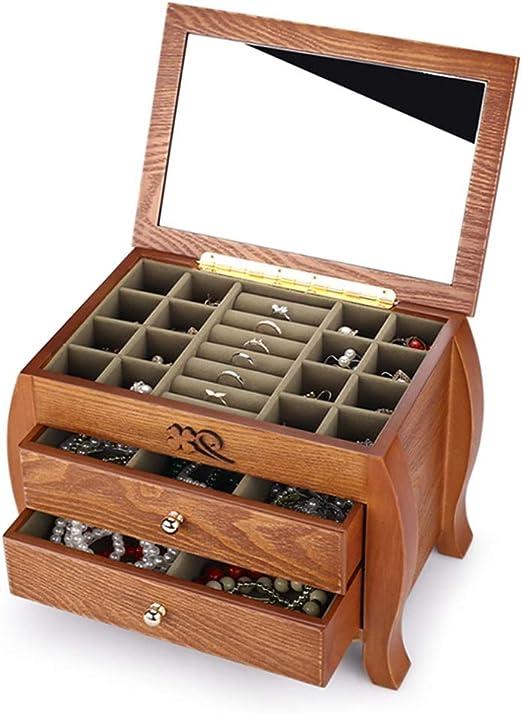 Jinxin-Caja Joyero de Madera Collar Organizador de la joyería con ...