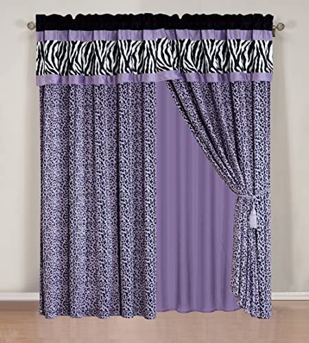 4 – Piece Rod Pocketed Light Purple Black White Zebra Leopard Micro Fur Curtain Set Drapes Window Panels 120 Wide X 84 Tall