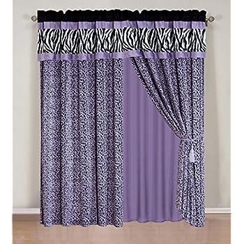 Amazon.com: 4 Pieces Faux Silk Purple with Black Zebra Window ...