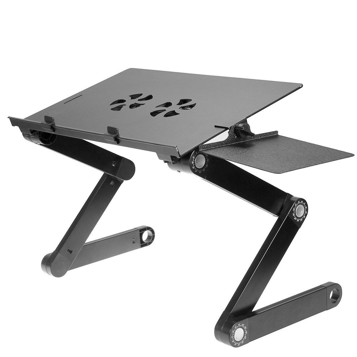 Vented Laptop Stand Riser & Computer Desk - Multifunctional Adjustable Portable Table, Bed Tray with Ergonomic Dual Layer Tabletop Design | Black - Aluminum