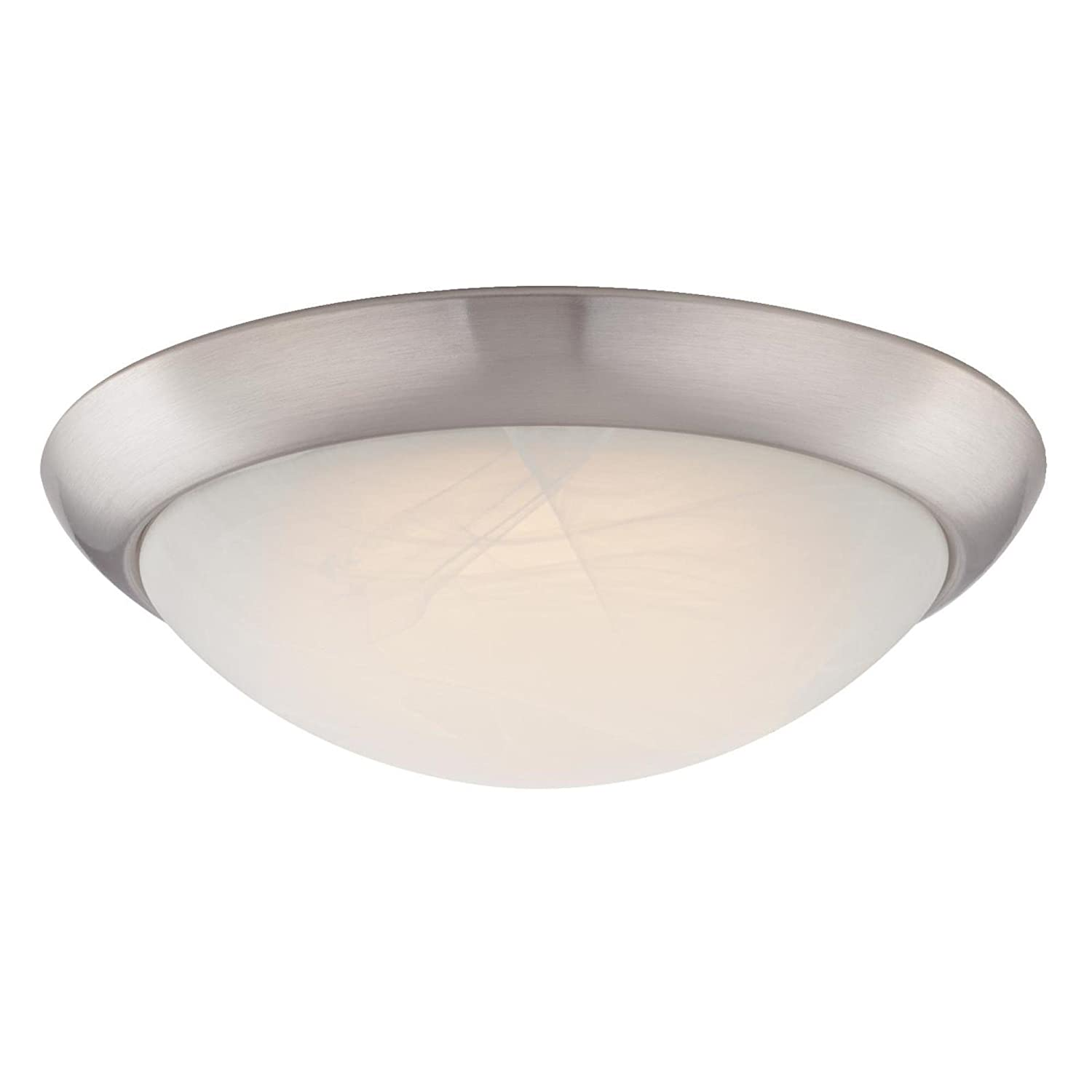 6308800 11 inch led indoor flush mount ceiling fixture brushed nickel finish with white alabaster glass amazon com