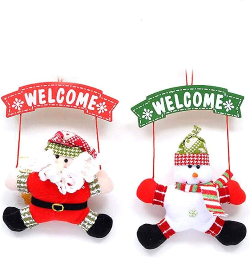 WESEEDOO Patron de Porte Santa /«Bienvenue/» Motif P/ère No/ël//Bonhomme de Neige Plaque Fit pour No/ël Nouvel an Thanksgiving D/écor