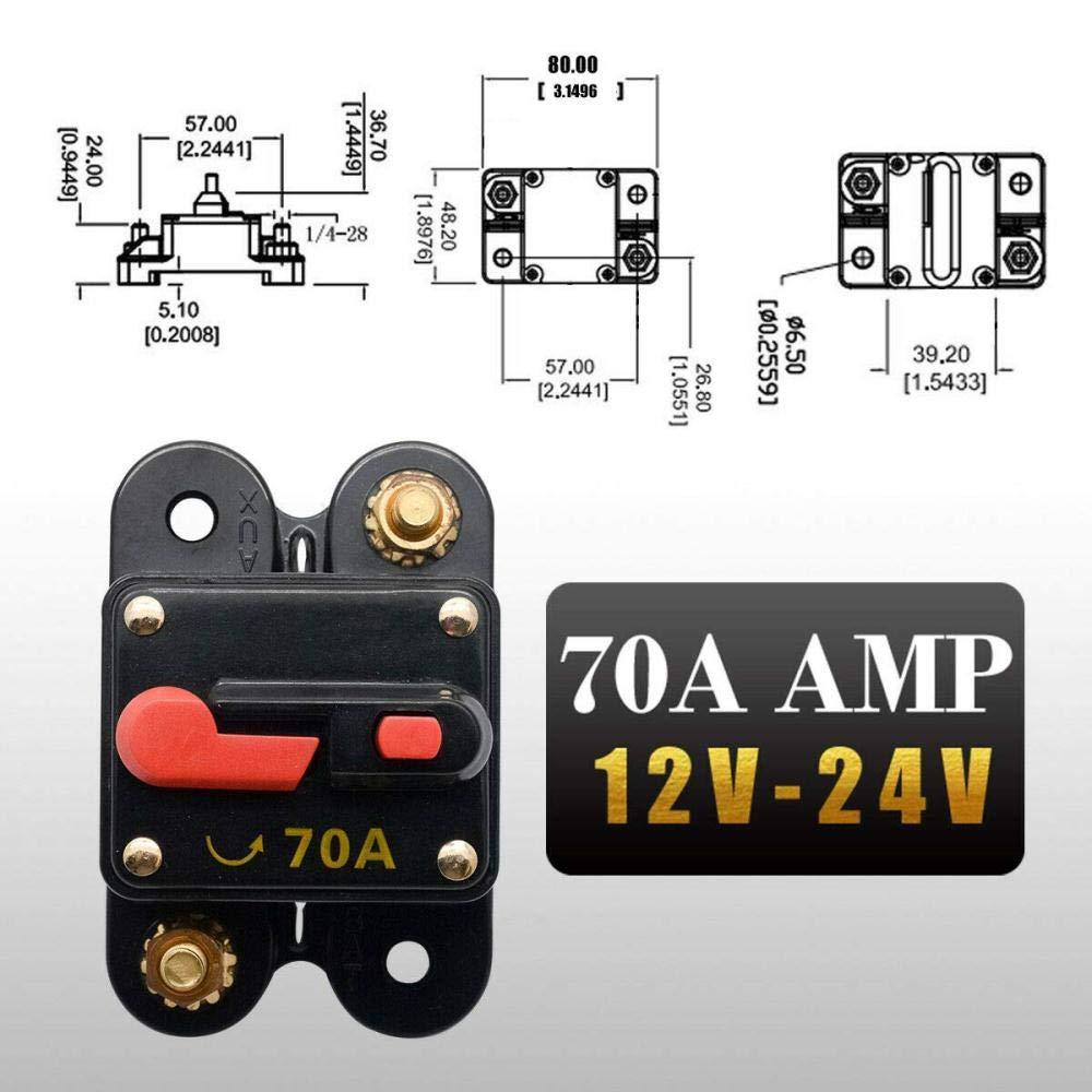 motore interruttore di circuito da 100 Amp con reset manuale interruttore di circuito per auto protezione 70A 12 V-24 V DC auto sistema di inverter solare barca Sunwan