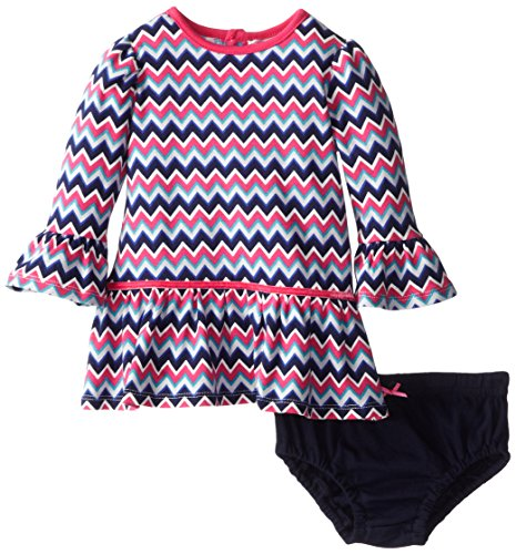 Hartstrings Newborn Baby Girls Cotton Interlock Dress, Multi Chevron Stripe, 0-3 Months (Hartstrings Cotton Dress)