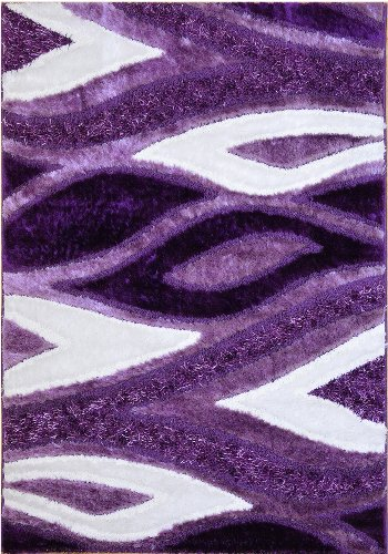 Cheap RugStylesOnline Royal Collection Purple White Contemporary Design Shaggy Area Rug (6029) (6'7″x9'6″)