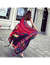 SUNBABY Women Boho Shawl Beach Towels Rectangle Acrylic Scarf Travel Sarong Wrap Swimwear Cover up Beach Mats (Cashew Nuts Daisy)