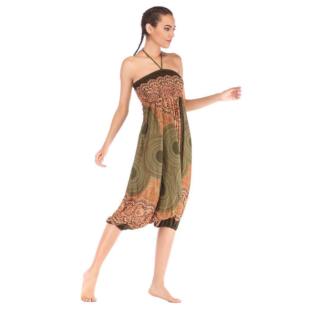 Harem Pants Women's Hippie Bohemian Yoga Pants One Size Aladdin Harem Hippie Pants Jumpsuit Smocked Waist 2 in 1 (Free, Army Green) by BingYELH Yoga (Image #3)