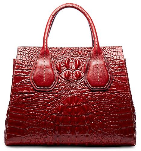 PIFUREN Classic Embossed Crocodile Genuine Leather Top Handle Satchel Handbags M1103(One Size, Red) by PIFUREN