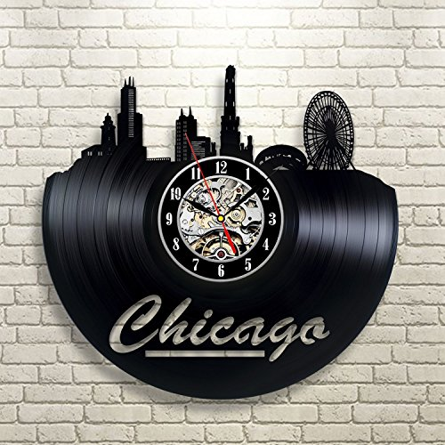 Chicago Vinyl Record Clock Wall Decoration Modern Vintage Ar