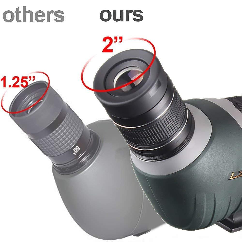 Fully Multi-coated Optics Landove Waterproof Spotting Scope 20-60X 65mm Shockproof Fogproof High Power with Tripod /& Digiscoping Adapter Porro Prism