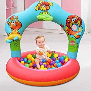 Inflatable Plastic Ball Pool for Birthday Parties at Home for Kids, Toddlers, Boys & Girls, Paddling Pools with Balls for Indoor Parties and Play Dates, Blow Up Ball Pits for Pets – Multi – 45in