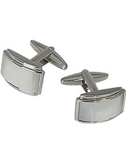 d23951ab550 HAWES   CURTIS Mens Silver   Clear Barrel Stylish Fashion Luxury Cufflinks