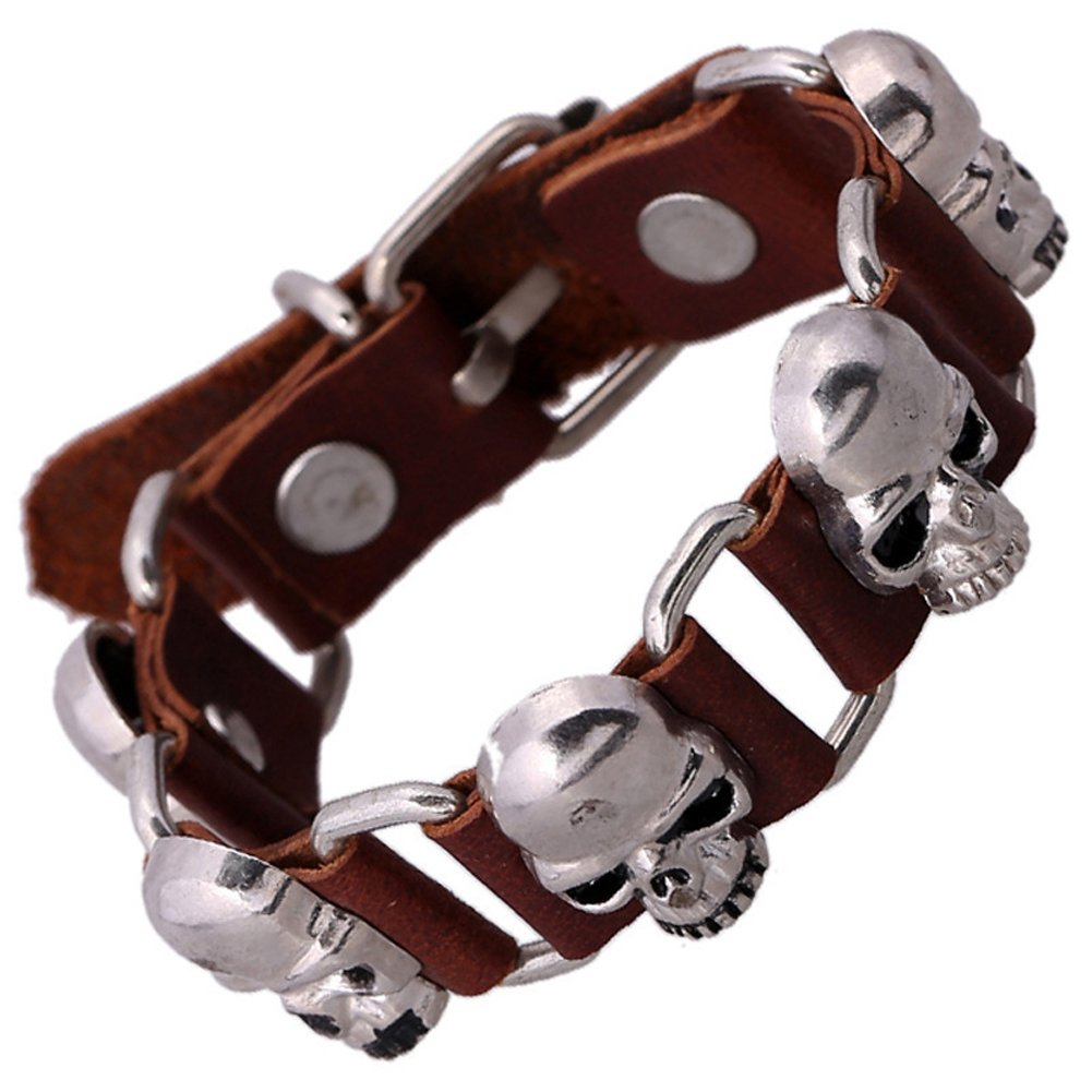 Cool Leather Bracelet Skull Head Handcraft Bangle Cuff Wristband Rock Punk Biker Bracelet Gift for Him for Her YIHAN