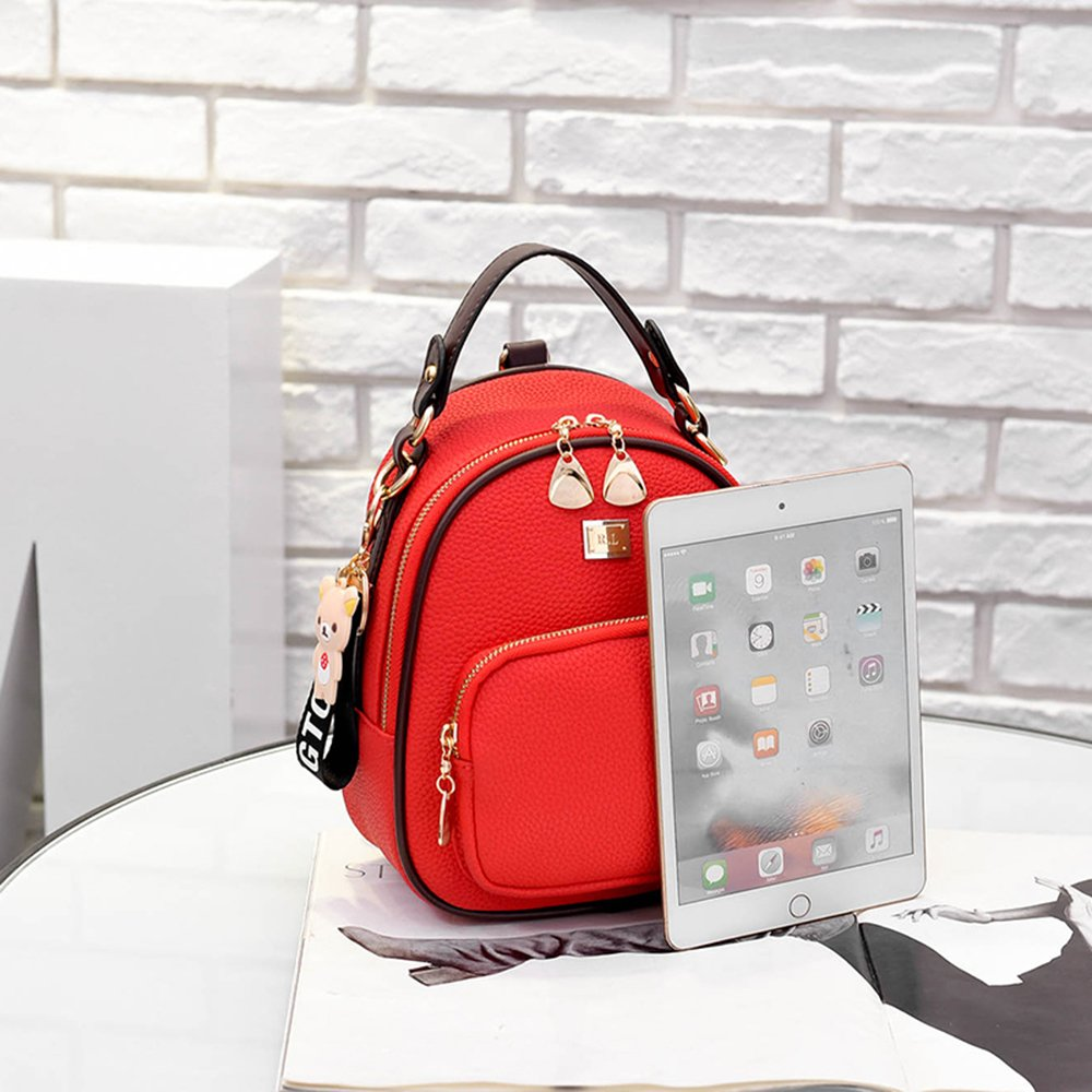 red Gashen Womens Mini PU Leather Backpack Purse Casual Drawstring Daypack Convertible Shoulder Bag