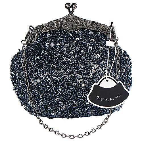 Bagood Women's Vintage Evening Bags Clutches Purses Handbag Shoulder Bag Seed Beaded Sequin Flower for Wedding Bridal Prom Party Dark Grey