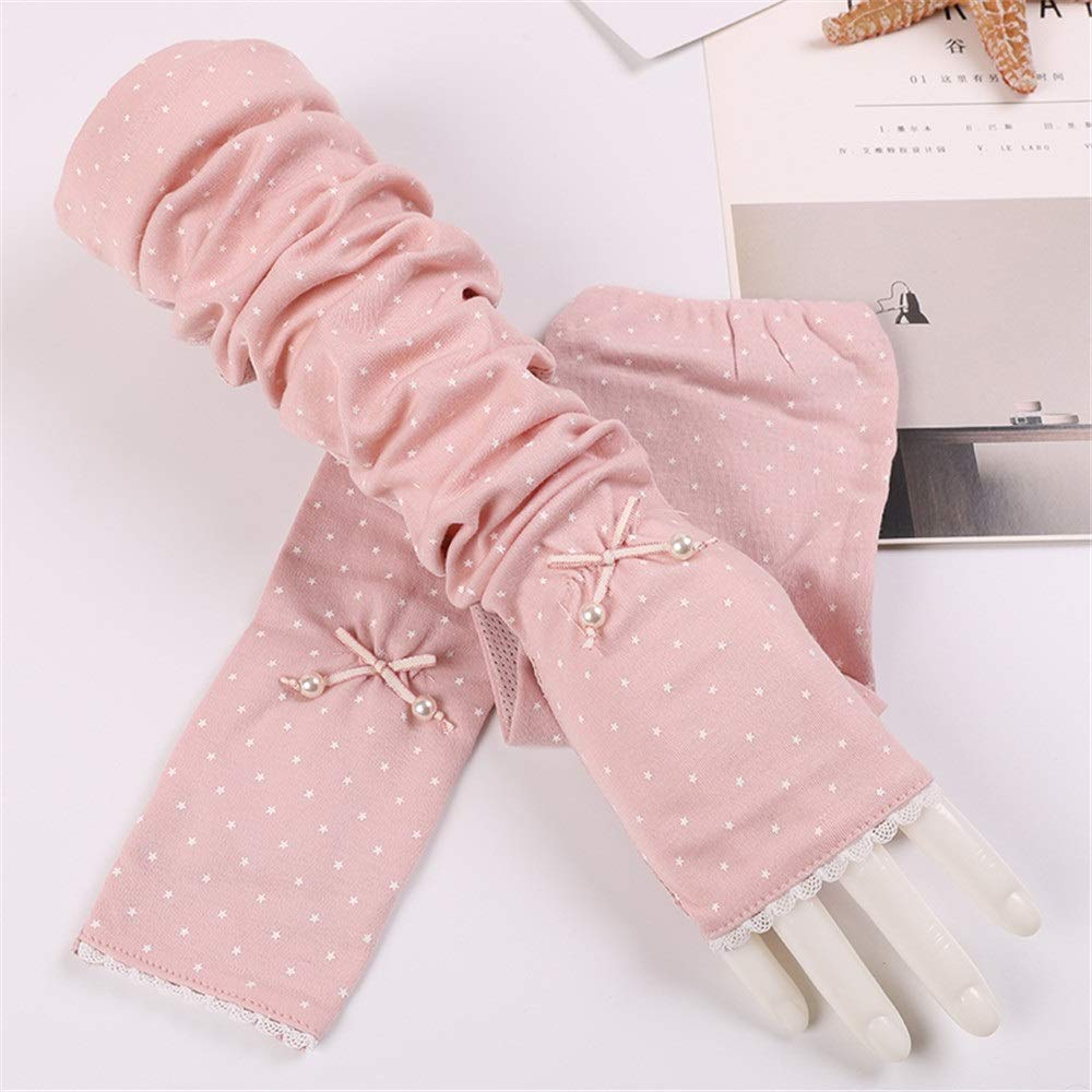 Anti-UV Women's UV Protection Cotton Breathable Arm Sets Non-Slip Long Sleeves Driving Sunscreen Sun Protection Gloves Breathable (Color : Pink, Size : One Size-Five Pairs)