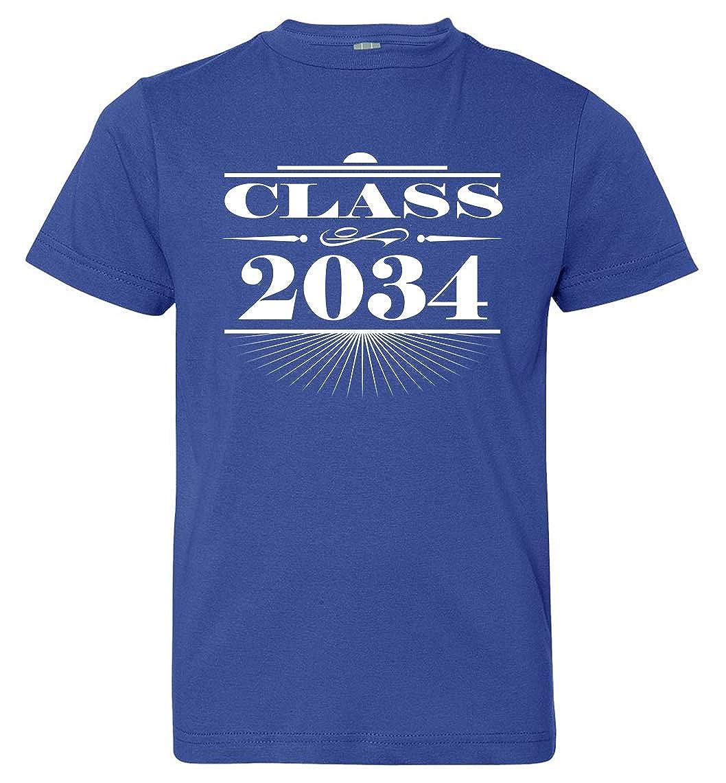 Royal Blue Tenacitee Boys Youth Art Deco Class of 2034 T-Shirt Medium