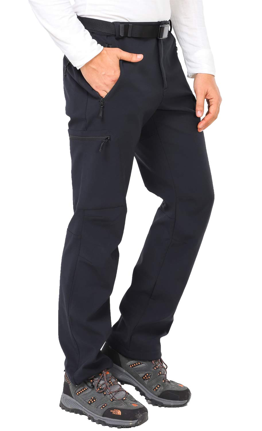 Black Anti-Static MIER Mens Stretch Cargo Hiking Pants Water-Resistant Tactical Pants with 5 Zipper Pockets