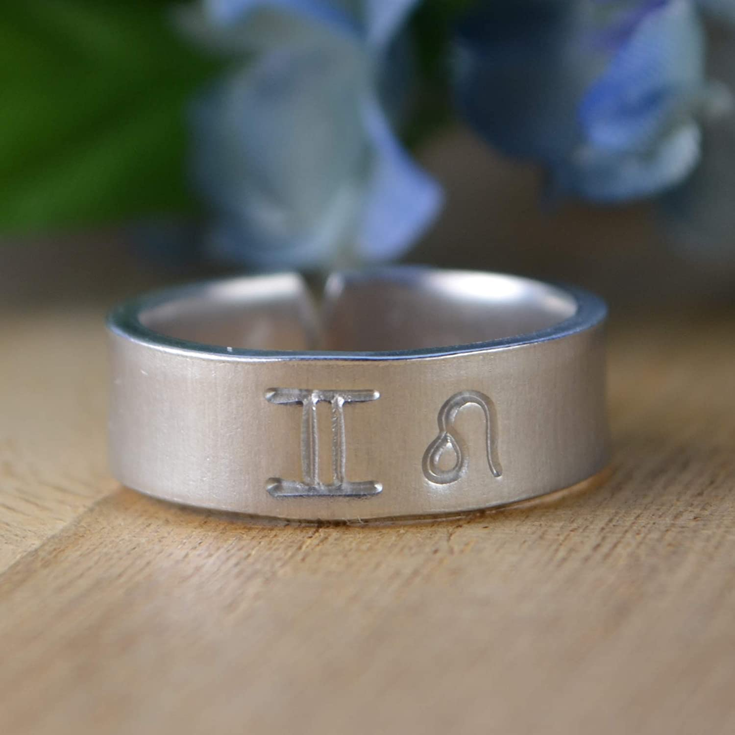 Sisters Custom made to size 4-14 Couples Any Two Zodiac Signs Adjustable Aluminum Hand Stamped Ring BFFs