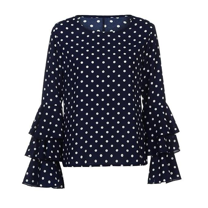 Lenfesh Casual de Mujer Solid Camisa Manga Larga Blusa Camisas con Volantes (Azul, S