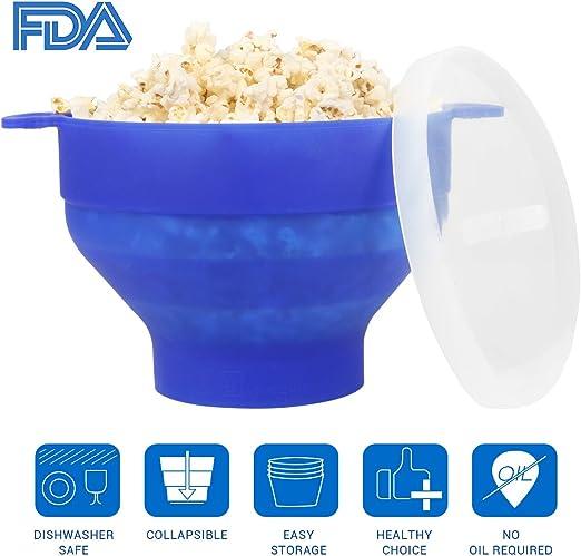 Palomitero palomitas microondas bowl Popper FDA silicona plegable ...