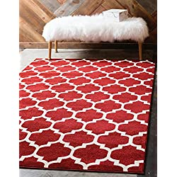 Unique Loom Trellis Collection Moroccan Lattice Red Area Rug (3' x 5')