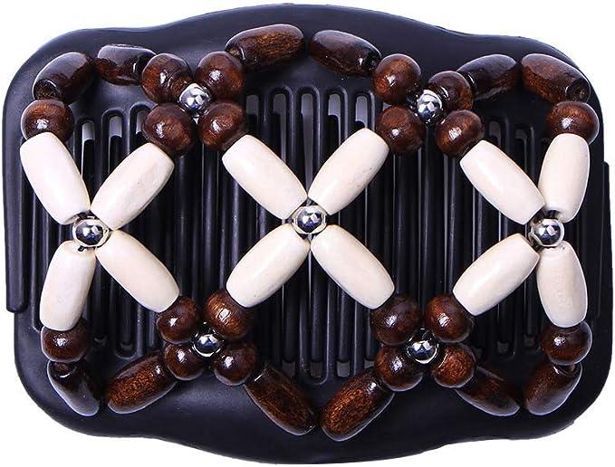 Magic African Hairclip Haarklammer Butterfly Holzdesign in Blüten Braun