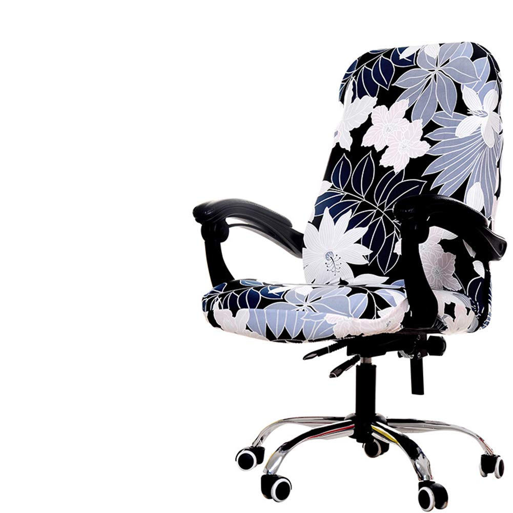 Deisy Dee Computer Office Chair Covers for Stretch Rotating Mid Back Chair Slipcovers Cover ONLY Chair Covers C162 (White Flower)