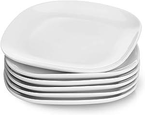 Sweese 153.001 Porcelain Square Dessert Salad Plates - 7.4 Inch - Set of 6, White