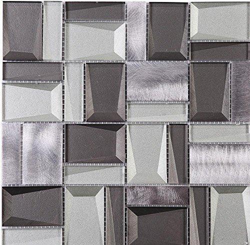 (TPHANG-01 Grey Glass Mix with Aluminum 3x3 Grid Mosaic Tile Sheet-Kitchen and Bath backsplash Wall Tile )