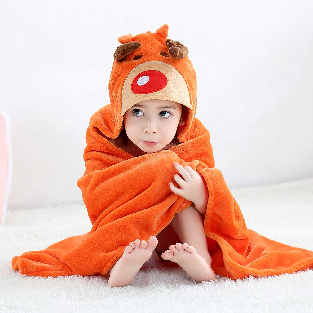 Light Blue MICHLEY Hooded Baby Towel Soft Coral Velvet Hooded Bath Towels for Boys and Girls