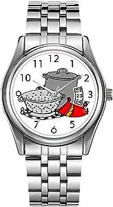 Reloj de pulsera para hombre de lujo, resistente al agua, 30 m, reloj deportivo masculino, cuarzo, casual, Navidad, olla de cocina y colador, divertido reloj de pulsera culinario