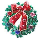 ACCESSORIESFOREVER Women Christmas Jewelry Crystal Rhinestone Wreath Charm Brooch Pin BH146 Red Green