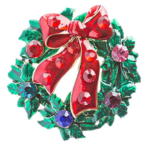 ACCESSORIESFOREVER Women Christmas Jewelry Crystal Rhinestone Wreath Charm Brooch Pin BH146 Red Green ()
