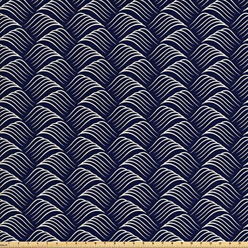 Ambesonne Geometric Fabric by The Yard, Vintage Ocean Waves Design with Swirled Ripples Ancestral Ornate Nautical, Decorative Fabric for Upholstery and Home Accents, 2 Yards, Dark Blue Cream
