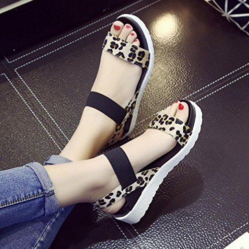 Baigoods Fashion Sandals Women Leopard Aged Student Leather Flat Sandals Ladies Shoes (US:7, Brown)