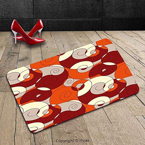 Custom Machine-washable Door Mat Abstract Decor Seamless Spiral Circled Modern pattern with Stripe Detail Orange White Grey and Maroon Indoor/Outdoor Doormat Mat Rug Carpet