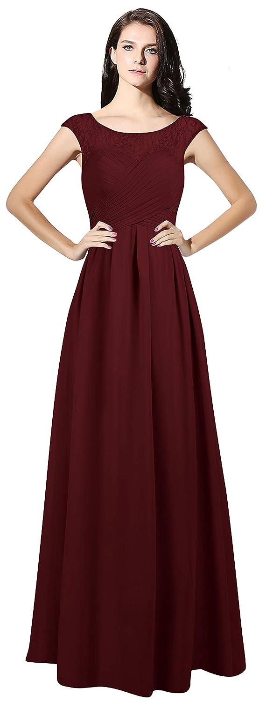 Maroon CladiyaDress Women Sheer Neck Cap Sleeves Long Evening Dress Bridesmaid Gowns C067LF