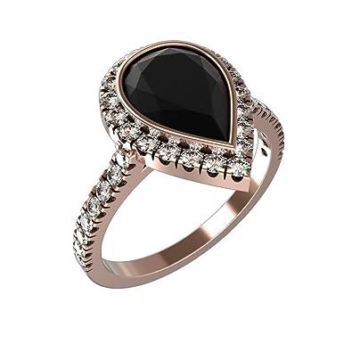 Amazoncom Bezel Setting Pear Shape Black Diamond Wedding Rings