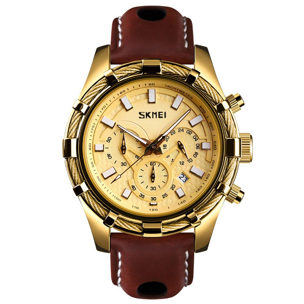 SPORS Business Casual Multi-Function Quartz Watch, Leather Strap Luminous Men's Watch-Gold by SPORS