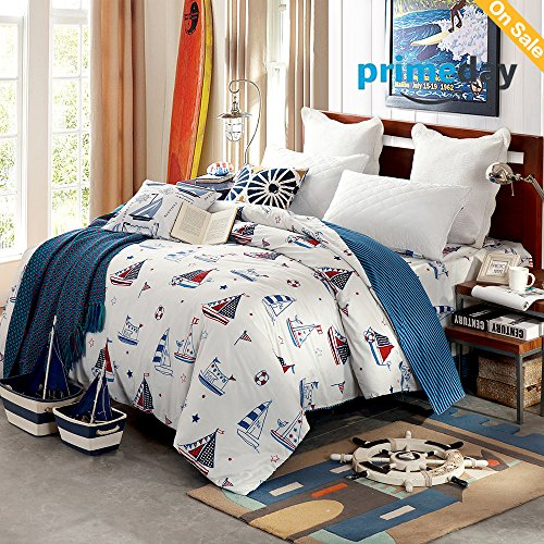 HMTOP [Latest Arrival] Sailboat Printed Reversible Teens 100 Cotton Striped Pattern Duvet Cover Bed Cover Set for Boys Blue Nautical Theme Twin Bedding Set