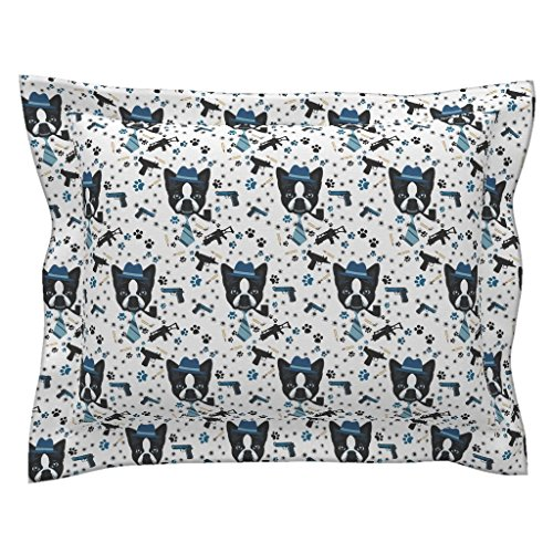 Standard Boston Sham - Roostery Boston Terrier Standard Flanged Pillow Sham Duke Terriers by Bluevelvet Natural Cotton Sateen Made