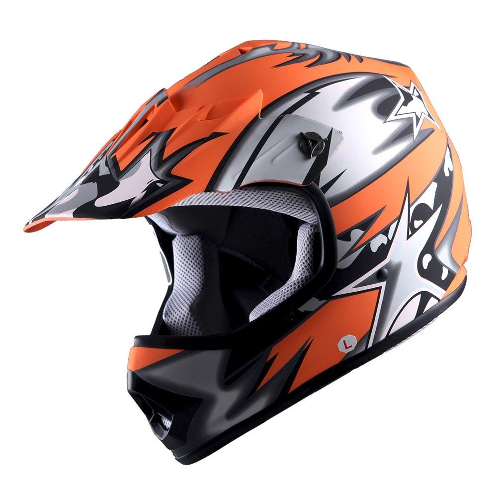 WOW Youth Kids Motocross BMX MX ATV Dirt Bike Helmet Star Matt Blue